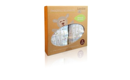 Boutique Bamboo Swaddle Blankets (2 Pack Lamb) in Gift Box