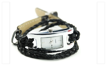 Popular Creative Black Ladies Charm Quartz Woven Bracelet WristWatch 910df388-5242-4ee1-aa28-d13d17ac6362