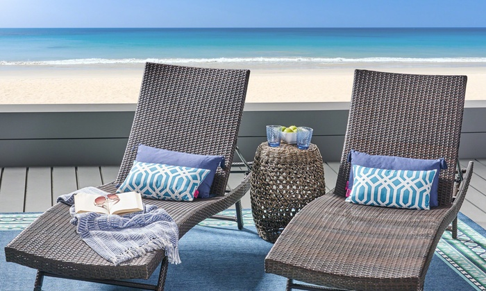 Stupendous Up To 6 Off On Outdoor Lounge Chair Set 2 Pk Groupon Goods Caraccident5 Cool Chair Designs And Ideas Caraccident5Info