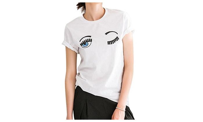 Women Short Sleeve T-Shit Round Neck Charming Eyes Cotton White
