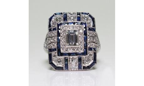 Antique Art Deco 925 Sterling Silver Blue Sapphire Diamond Ring