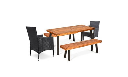 5 -Piece Acacia Wood Dining Set w/2 Wicker Chair 2 Bench Umbrella Hole