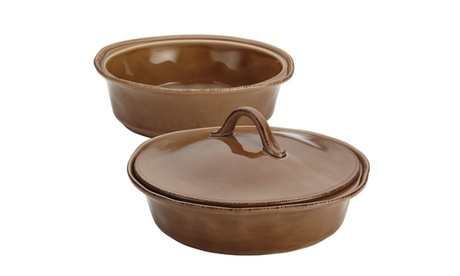 Rachael Ray Cucina Stoneware 3pc Round Casserole & Lid Set Mushroom Brown 48d1fb27-c36e-4654-98d0-91bdffde9d51