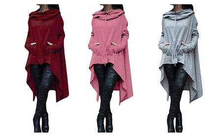 Women Plus Size Long Sleeve Irregular Pocket Pullover Hoodie Blouse bd4d0b12-99f9-4347-a30d-e4e1aa830e2d