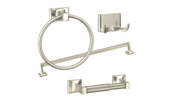 4piece Towel Bar Set Bath Accessories Bathroom Hardware Brushed Nickel