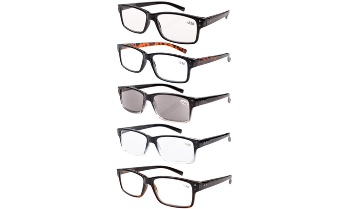 26487313261 Eyekepper 5-pack Spring Hinges Vintage Reading Glasses Men Includes Sun  Readers
