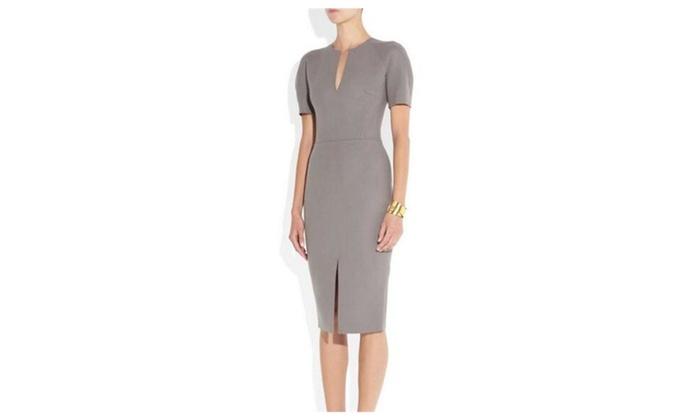 Outclub: Women's Formal Slit Neckline Pencil Back Zipper Dress