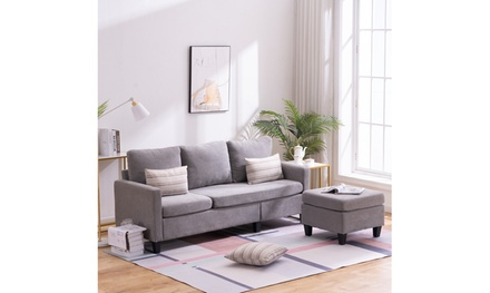 L-Shape Double Chaise Longue Sectional Sofa Couch for Small Space Apartment