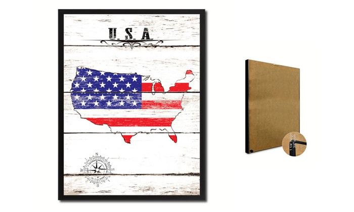 "SpotColorArt: USA Map Accent Shabby Chic 7"" x 9"" Flag Print on Canvas, Custom Framed"