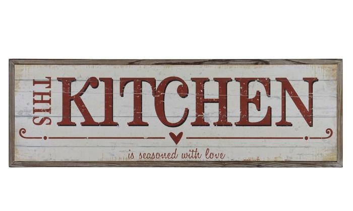 Wood Rectangular Wall Art Red This Kitchen Is Seasoned Love Writing
