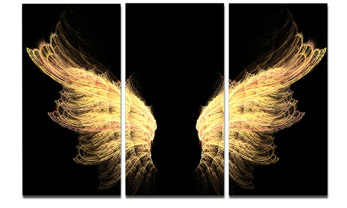 Gold Wings Large Abstract Metal Wall Art