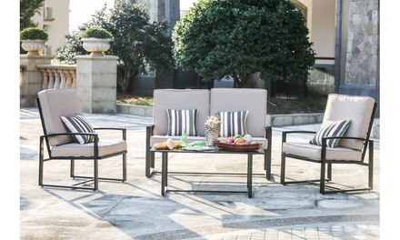 Outdoor Loveseat, Chair, and Table Set with Cushions (4-Piece)