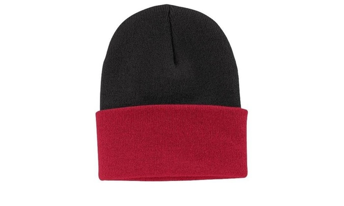 d3ad20d09e6 Port   Company CP90 Knit Cap Black   Athletic Red - One Size