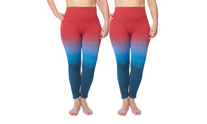 0ef0acd6ef Women's Plus-Size Seamless Stylish Ombre Control Top Leggings (2 ...