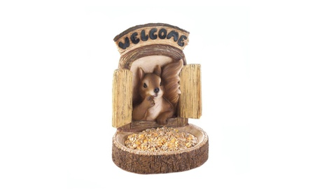 Welcome Home Squirrel Wall Hanging Standing Bird Feeder 9.62