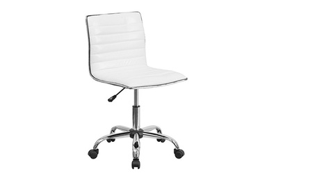 Low Back Designer Armless White Ribbed Swivel Task Chair 2ba7cb22-194d-4ce6-b782-5948acb4c8f1