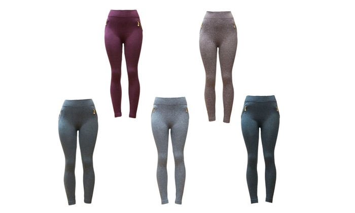 Riva USA Women's Fleece Lined Seamless Leggings FL-1542 (5 pack)