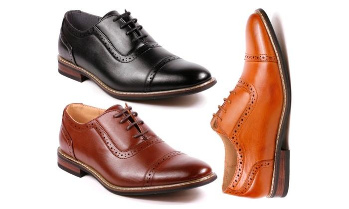 Metrocharm ALEX-03 Men's Perforated Lace Up Cap Toe Oxford Dress Shoes