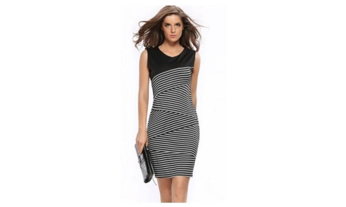 Women Summer V Neck Stripe Party Pencil Dress
