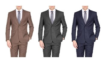 Gino Vitale Light Glen Check Men's Slim Fit 2PC Suit