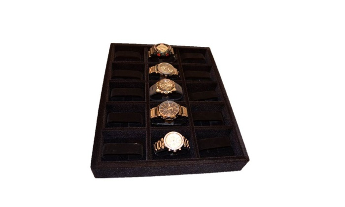 Watch Organizer Jewelry Organizer Wood and Velvet Tray black Groupon