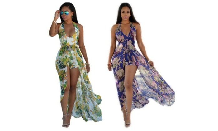 70e7c82d74f56 Women's Sexy Backless See Through Floral Long Maxi Beach Dresses ...