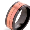 Men's Coffee- Tone Two-Tone Stainless Steel Dual Spinner Ring