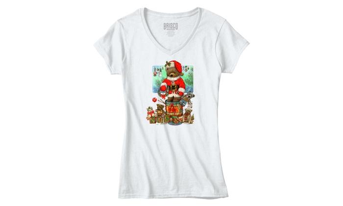 Noel Santa Teddy Bear and Toys - Junior Fitted V-Neck T-Shirt