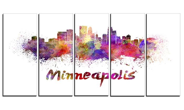 Minneapolis Skyline Cityscape Metal Wall Art 60x28 5 Panels | Groupon
