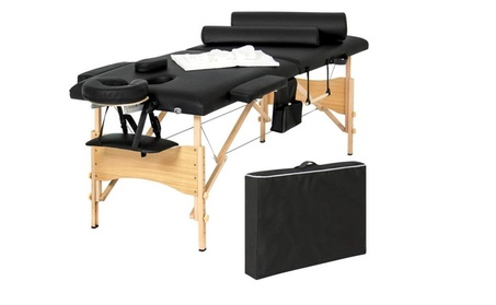 "Portable 84"" Tri-Folding Massage Table Bed Set With Cover- Black 0030c259-1618-4c2b-af87-de7acce8601f"