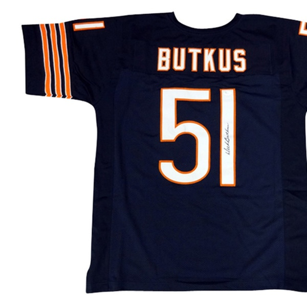 best service 0be17 ee620 Autographed Dick Butkus Chicago Bears Blue Custom Jersey