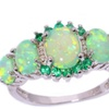 Green Fire Opal Crystal Silver Plated Rings for Women