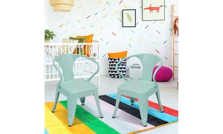 Set of 2 Kids Tolix Chair Steel Armchair Stackable Indoor Outdoor Furniture