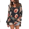 Womens Sexy Floral Print Long Sleeve Choker V Neck Blouses Casual Tops