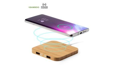 Cargador inalámbrico con carcasa en bambú con salida USB