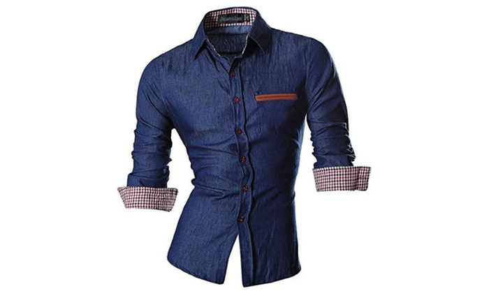 jeansian Men's Slim Fit Long Sleeves Casual Shirts 8561