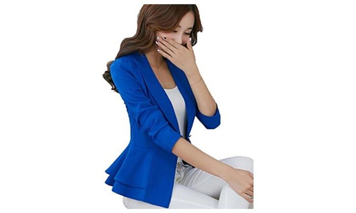 Womens Long Sleeve Falbala Solid Slim Casual Suit Jacket Blazer - Navy Blue / 3XL=US10-12