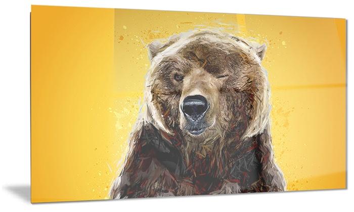 Brown Bear Animal Metal Wall Art 28x12