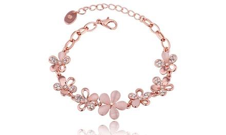Pink Opal Mutli Floral Daisy Bracelet in 14K Rose Gold Was: $99.99 Now: $12.98.
