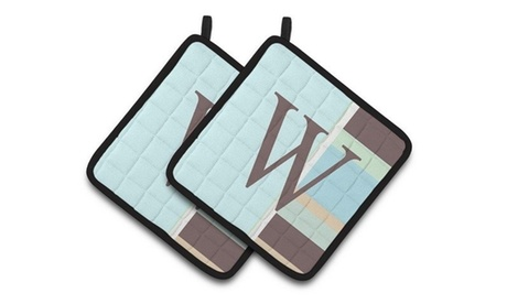 Carolines Treasures CJ1003-WPTHD Letter W Initial Monogram - Blue Stripes Pair o photo