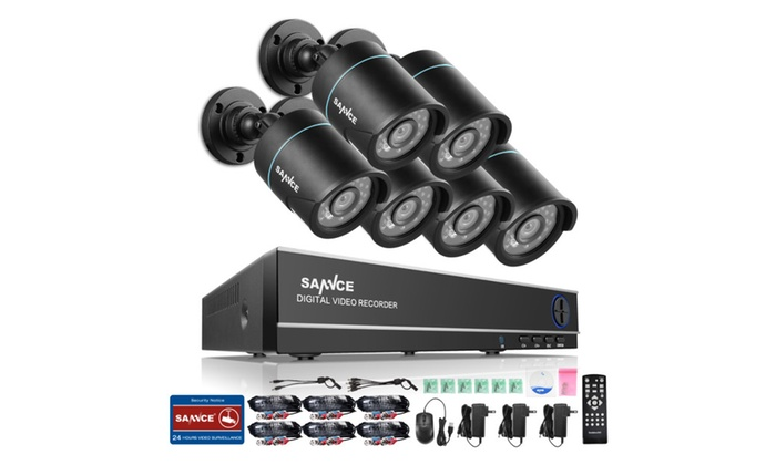 SANNCE 8CH 960H HD DVR 6Pcs 720P Security System Cameras Surveillance