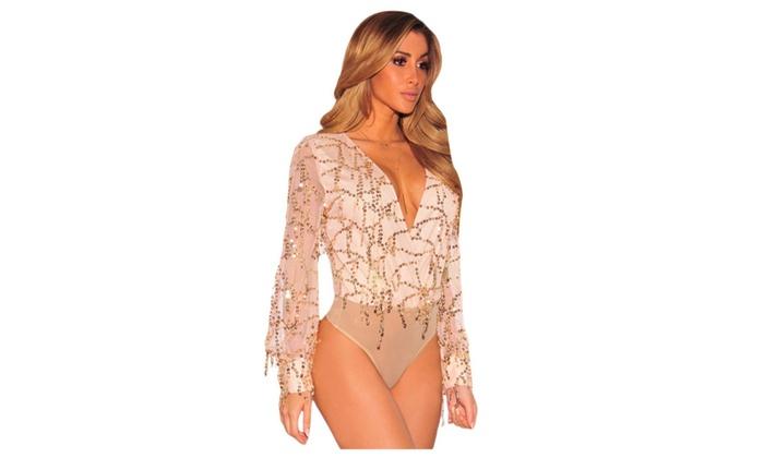 Women's Lingerie Flowing Sequins Long Sleeves Bodysuit