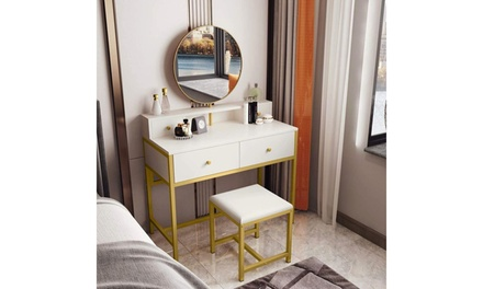 Vanity Table Set with Mirror and Stool, Makeup Dressing Table Dresser Desk