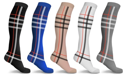 DCF Holiday Plaid London Compression Socks 5-Pairs Was: $79.99 Now: $14.99.