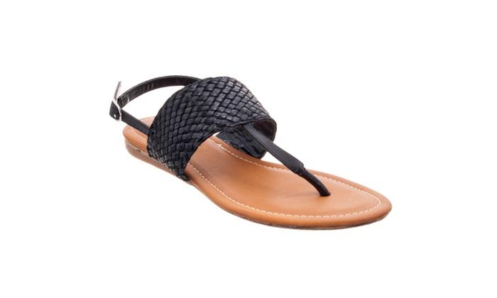 Riverberry Women's 'Santi' Woven T-strap Sandal, Black