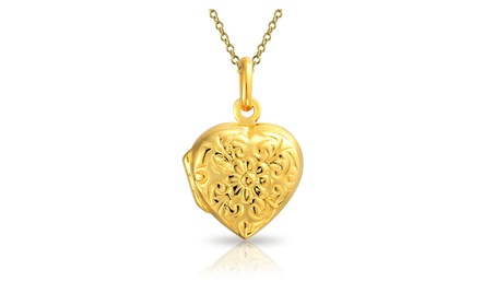 Bling Jewelry Flower Etched Heart Shaped Locket Gold Plated Pendant 0f8abbc9-06f3-43dd-8ae0-2205e0390b35
