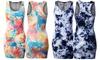 Doublju Women's Tiedye Racerback Slim Fit Bodycon Mini Dress