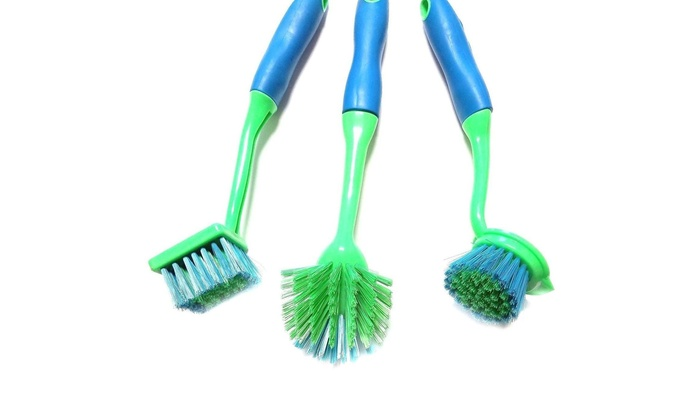 3 Pack All You Need Kitchen Scrub Brush Set Soft Touch Handle 11\