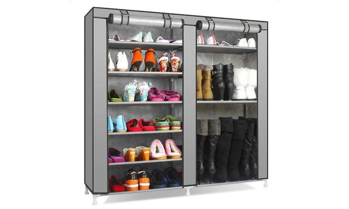 Charmant 9 Tier Large Shoe Rack Organizer With Cover ...