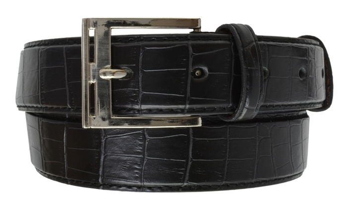 AFONiE Men's Casual Leather Belt with Silver Buckle